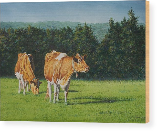 Wood Print featuring the painting Grazing by Arnold Hurley