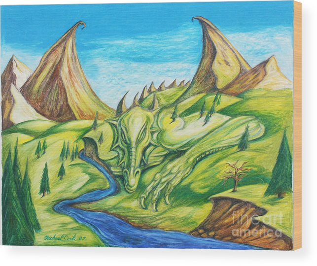 Dragons Landscapes Wood Print featuring the drawing River Rage by Michael Cook
