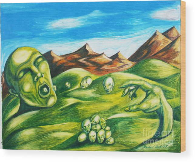 Green Surreal Landscape Wood Print featuring the drawing Food For Thought by Michael Cook