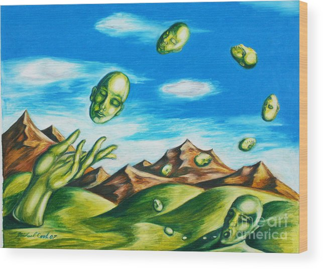 Surreal Landscape Wood Print featuring the drawing Earthly Flow by Michael Cook