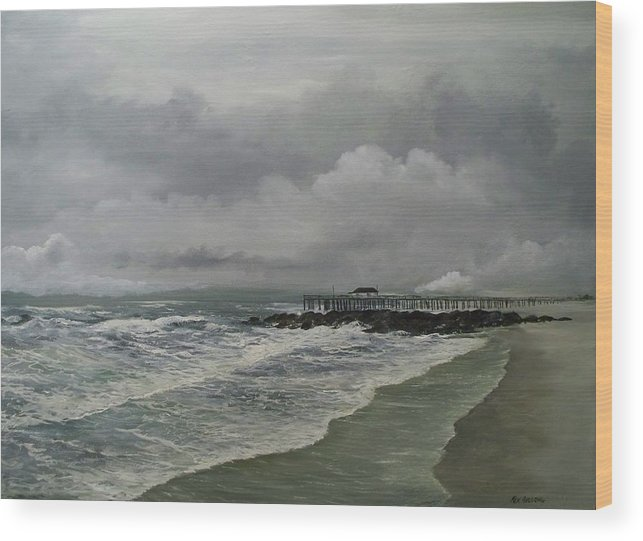 Seascape. Ocean Wood Print featuring the painting Grey Day At Ocean Grove by Ken Ahlering