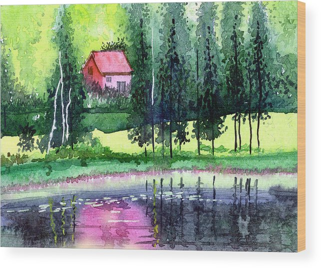 Landscape Wood Print featuring the painting Guest House by Anil Nene