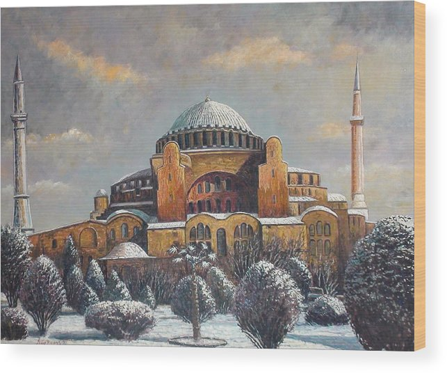Istanbul Wood Print featuring the painting Hagia Sophia In Snow by Charalampos Laskaris