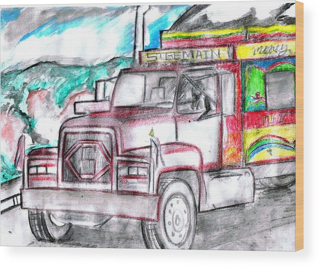 Trucks Wood Print featuring the drawing Haitian Travel by HPrince De Artist