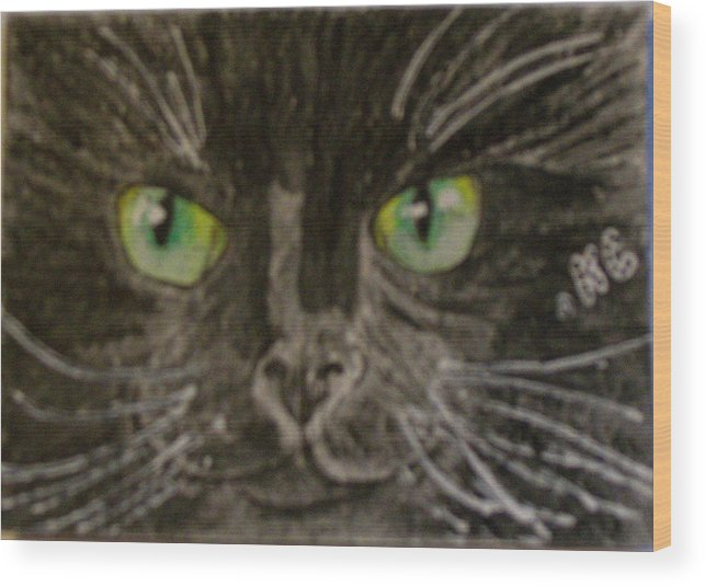 Halloween Wood Print featuring the painting Halloween Black Cat I by Kathy Marrs Chandler