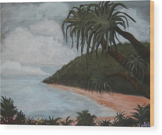 Landscape Wood Print featuring the painting Hawaii by Amy Parker Evans