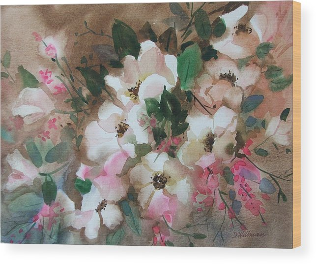 Spring Flowers Wood Print featuring the painting Hawthorne Beauties by Dianna Willman