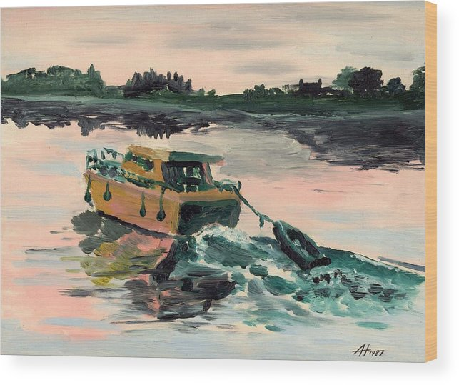 Boat Wood Print featuring the painting Heading Home by Alan Hogan