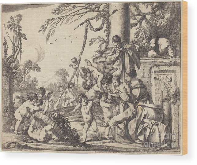 Wood Print featuring the drawing Holy Family With Putti by Laurent De La Hyre