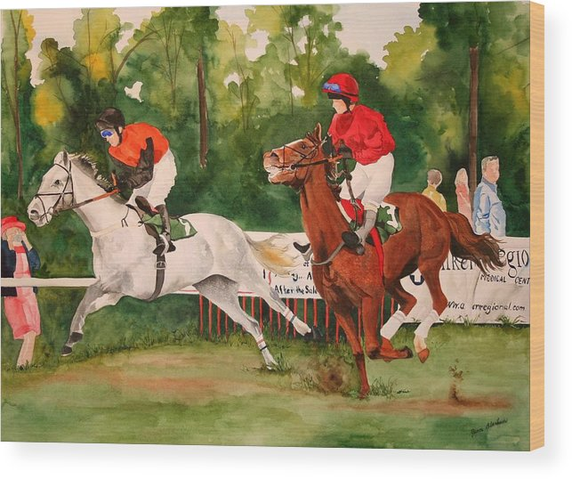 Racing Wood Print featuring the painting Homestretch by Jean Blackmer