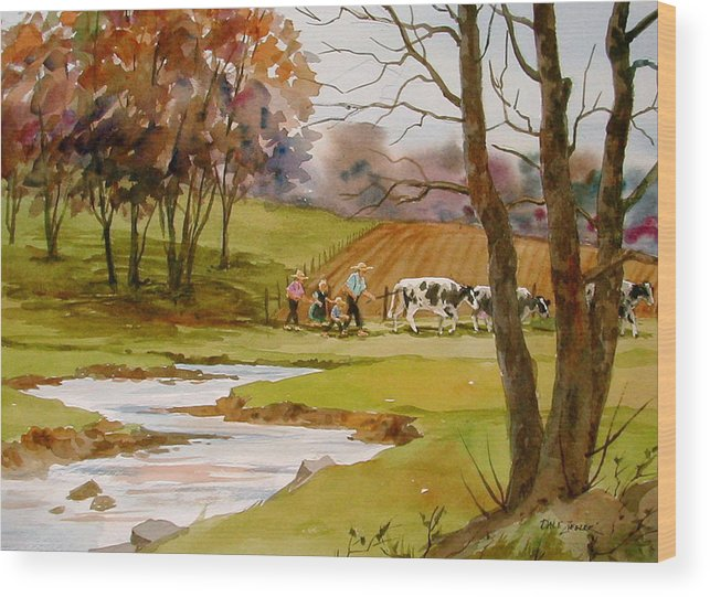 Landscape Wood Print featuring the painting Homeward Bound by Faye Ziegler