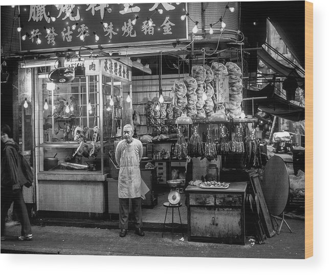 Adult Wood Print featuring the photograph Hong Kong Foodmarket In Black And White, China by Ruurd Dankloff