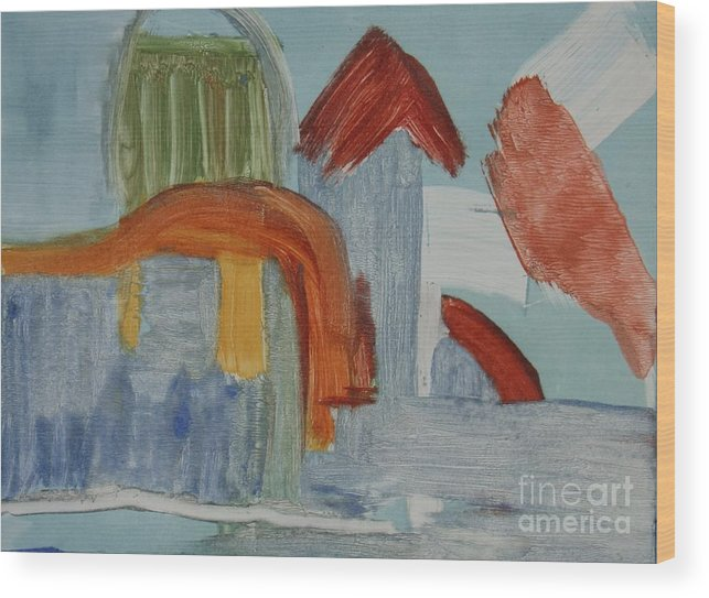 Abstract Meditterenean City Sky Blue Leilaatkinson Original Artwork Wood Print featuring the painting In The Blue by Leila Atkinson