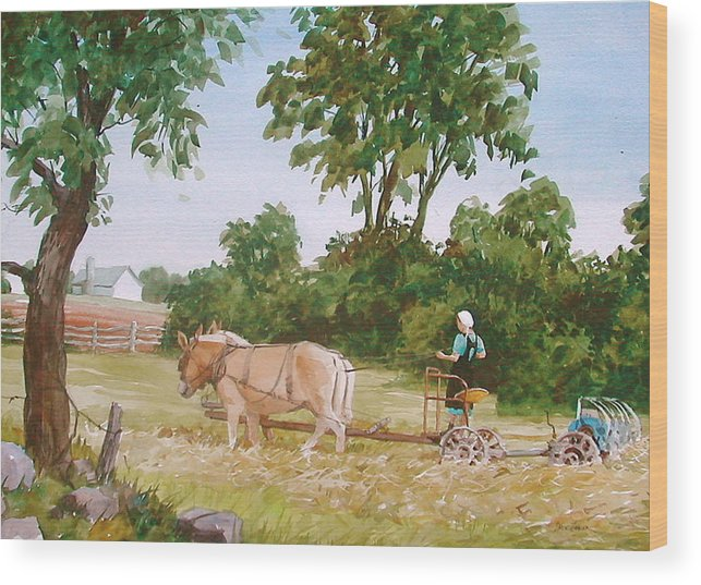 Amish Wood Print featuring the painting In The Hayfield by Faye Ziegler