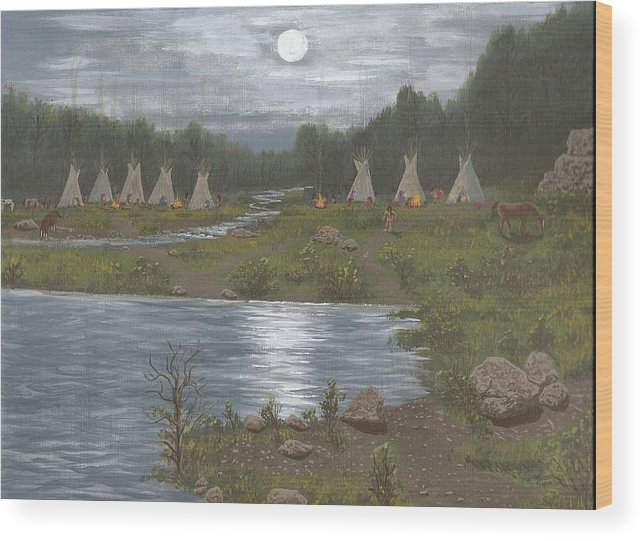 Indians Wood Print featuring the painting Indian Camp by Don Lindemann