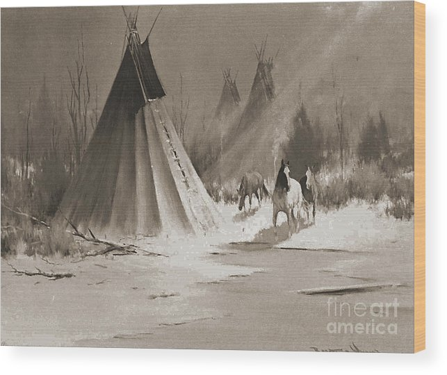 American Wood Print featuring the photograph Indian Tee Pee by Gary Wonning
