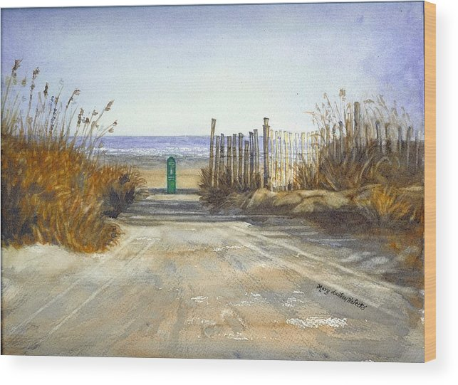 Beach Wood Print featuring the painting Initial Exposure by Mary Dunham Walters