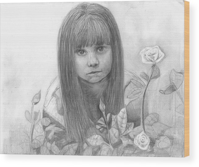 Little Girl Roses Wood Print featuring the drawing Innocence by Katie Alfonsi
