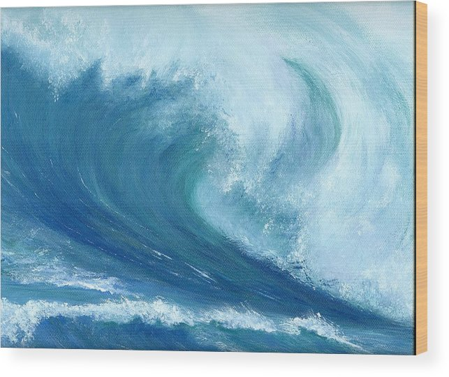 Wave Wood Print featuring the painting Inside Out by Laura Johnson