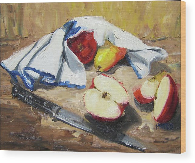 Still Life Wood Print featuring the painting Is It Safe To Come Out by Paula Stern