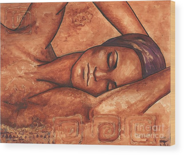 Painting Wood Print featuring the painting Just Lay Back And Relax And . . . by Alga Washington