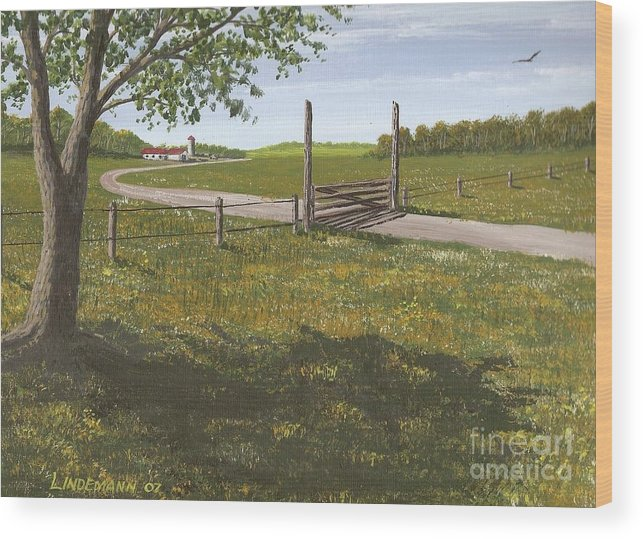 Kansas Wood Print featuring the painting Kansas Farm by Don Lindemann