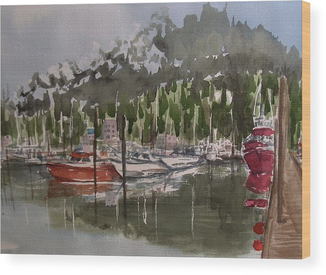 Marina Wood Print featuring the painting Ketchican Marina by Pete Maier
