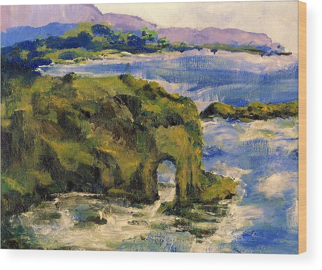 Ocean Wood Print featuring the painting Key Hole Arch Bright Sun by Randy Sprout