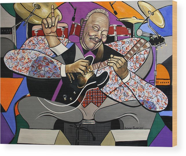 King Of The Blues Wood Print featuring the painting King Of The Blues by Anthony Falbo
