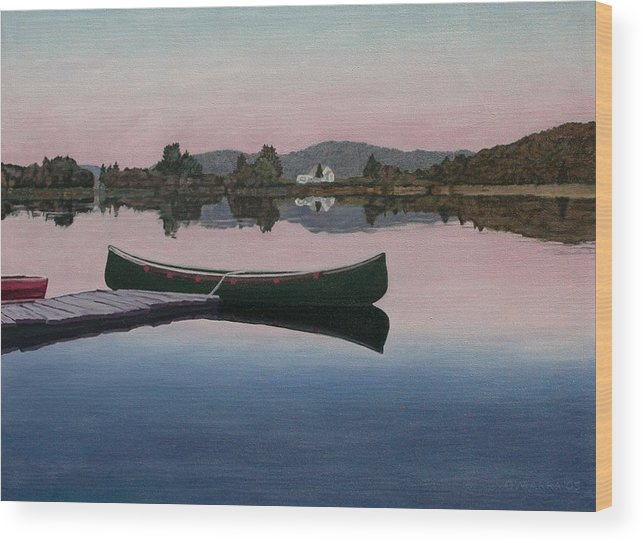 Canoe Wood Print featuring the painting Lake View by Allan OMarra