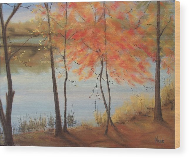 Fall Foliage Wood Print featuring the painting Lakeside Dancers IIII by Pete Maier