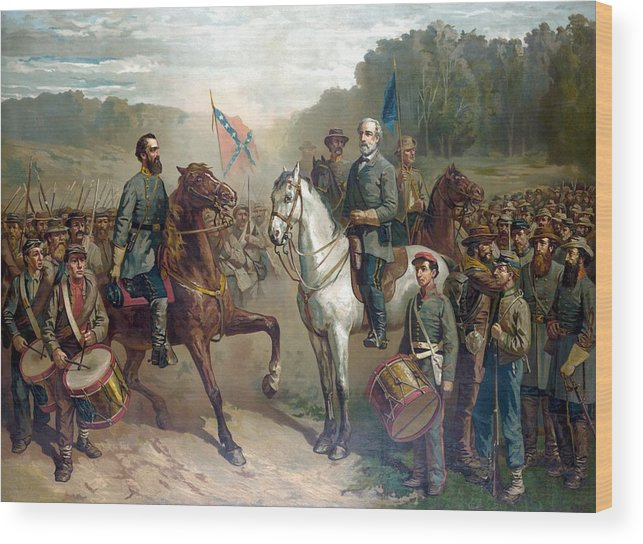 Robert E Lee Wood Print featuring the painting Last Meeting Of Lee And Jackson by War Is Hell Store