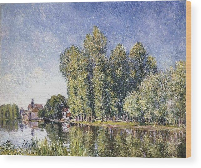 Banks Of The Loing At Moret Wood Print featuring the painting Le Loing A Moret by MotionAge Designs