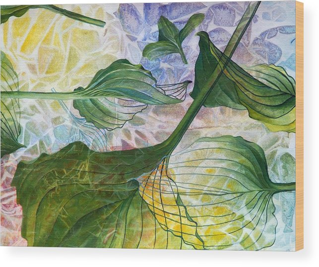 Leaves Wood Print featuring the painting Leaves by Arlissa Vaughn
