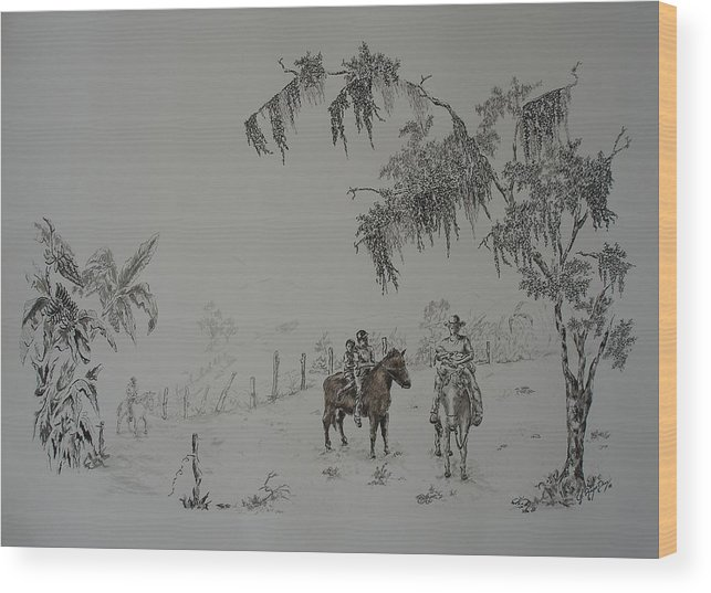 Landscape Wood Print featuring the drawing Leaving Home by Gloria Reyes Diaz
