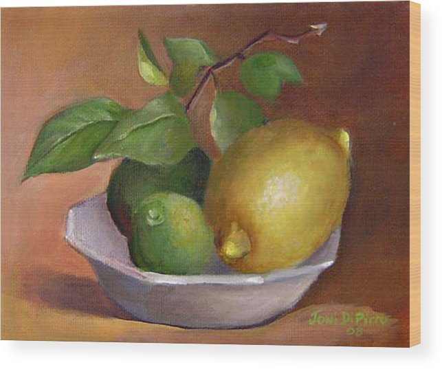 Still Life Wood Print featuring the painting Lemon And Limes Still Life by Joni Dipirro