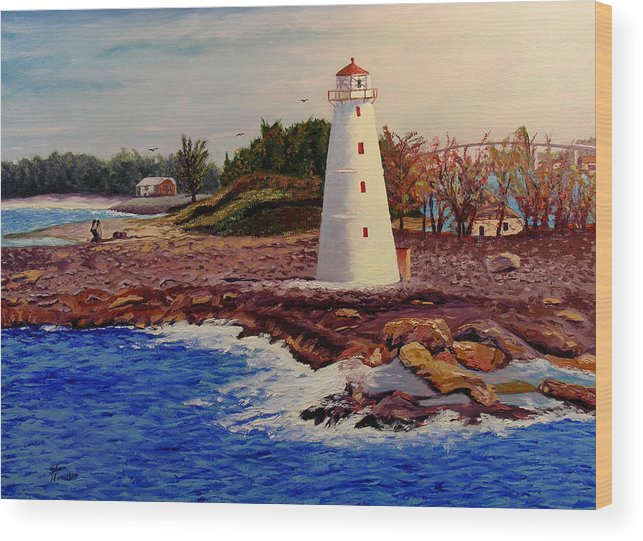 Original Oil On Canvas Wood Print featuring the painting Light House by Stan Hamilton