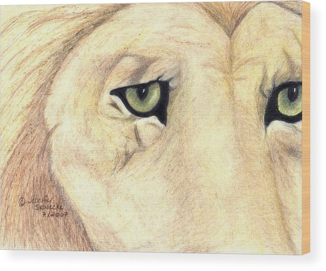 Lion Wood Print featuring the drawing Longing by Jennifer Skalecke