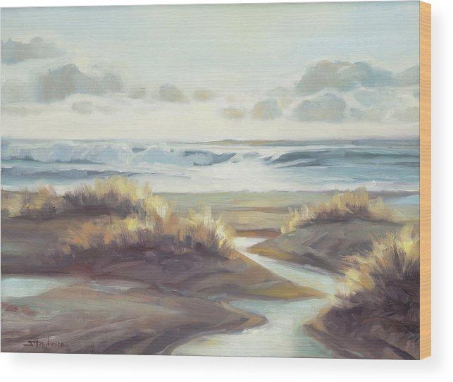 Ocean Wood Print featuring the painting Low Tide by Steve Henderson