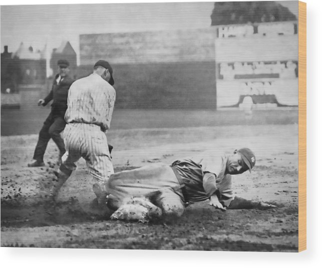 Baseball Wood Print featuring the photograph Making The Play C. 1920 by Daniel Hagerman