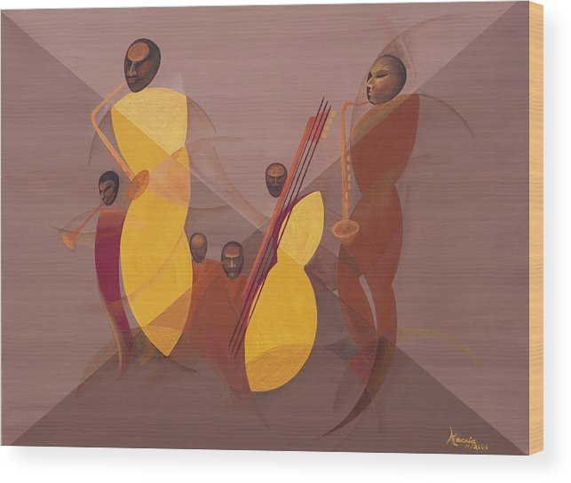 Mango Jazz Wood Print featuring the painting Mango Jazz by Kaaria Mucherera