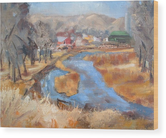 Landscape Wood Print featuring the painting Marias Ranch by Bryan Alexander