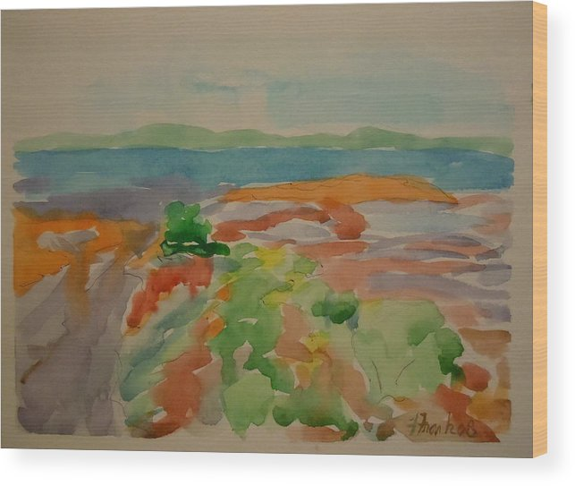 Maine Landscape Wood Print featuring the painting Marlboro Beach by Francine Frank