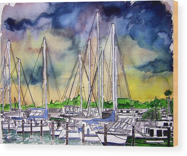 Boat Wood Print featuring the digital art Melbourne Florida Marina by Derek Mccrea