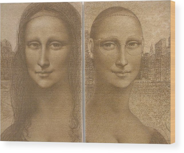 Mona Lisa Wood Print featuring the painting Mona Lisa Past And Present by Gary Kaemmer