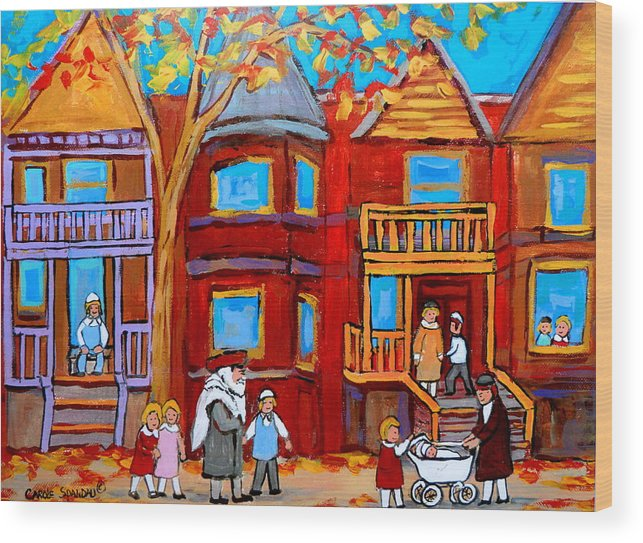 Outremont Wood Print featuring the painting Montreal Memories Of Zaida And The Family by Carole Spandau