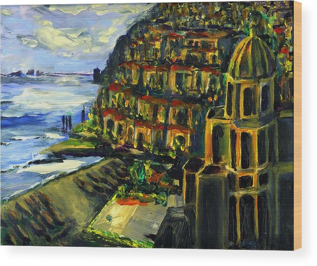 Positano Wood Print featuring the painting Moonlight Over Positano by Randy Sprout