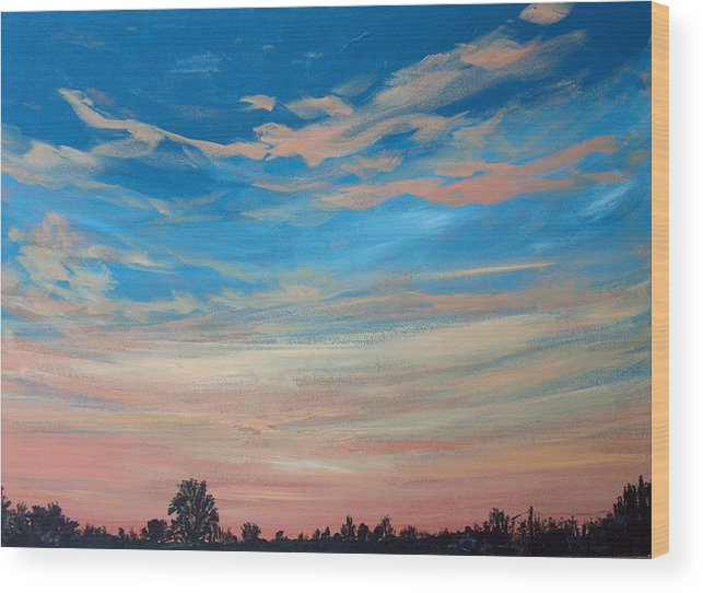 Sunrise Wood Print featuring the painting Mornin Iv by Pete Maier