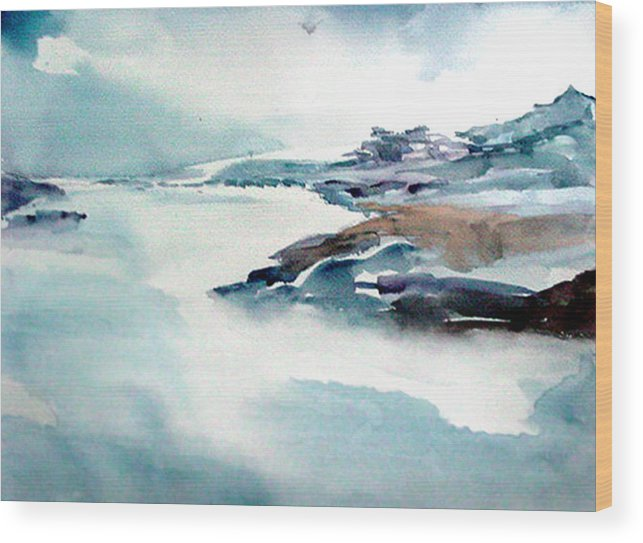 River Wood Print featuring the painting Mystic River by Anil Nene