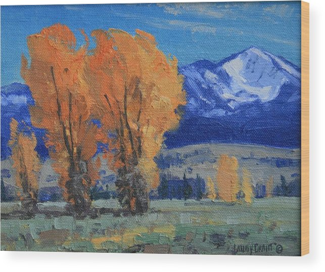 Landscape Wood Print featuring the painting Near Kelly by Lanny Grant